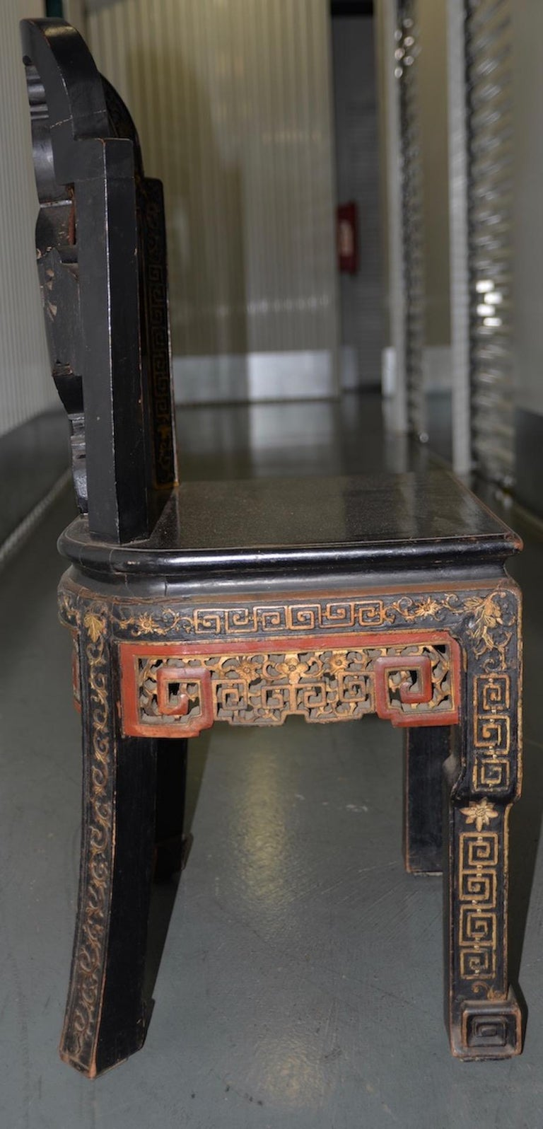 19th Century Carved & Painted Chinese Side Chair For Sale 3