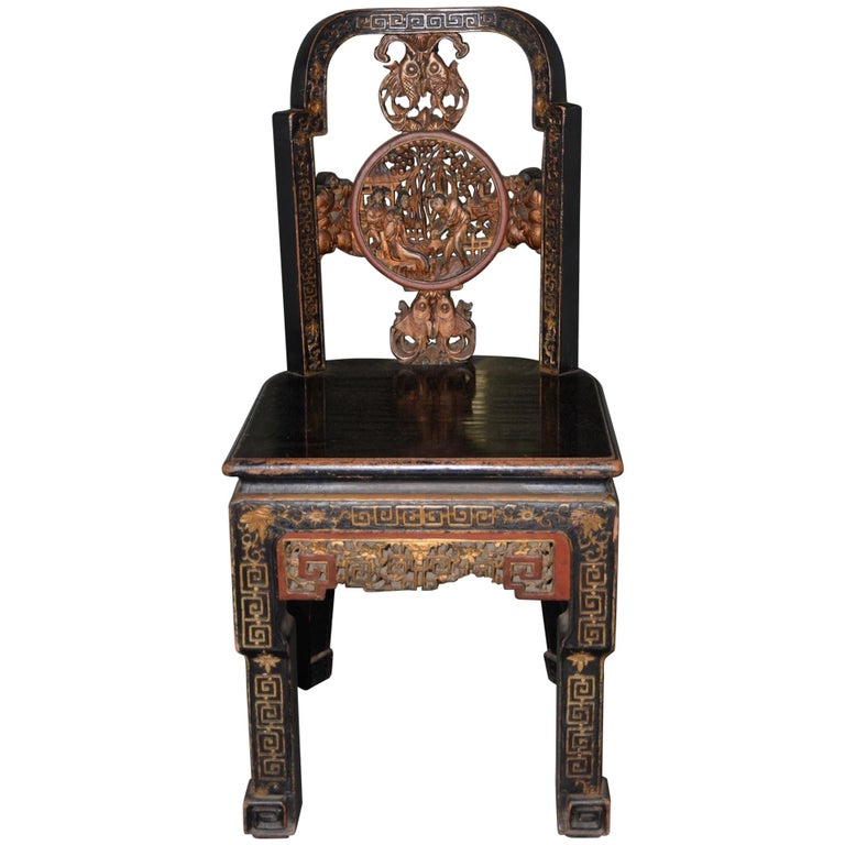 19th Century Carved & Painted Chinese Side Chair For Sale