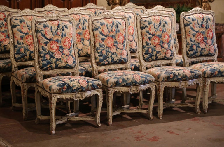 19th Century Carved Painted Dining Room Chairs with Aubusson Tapestry -Set of 12 For Sale 4