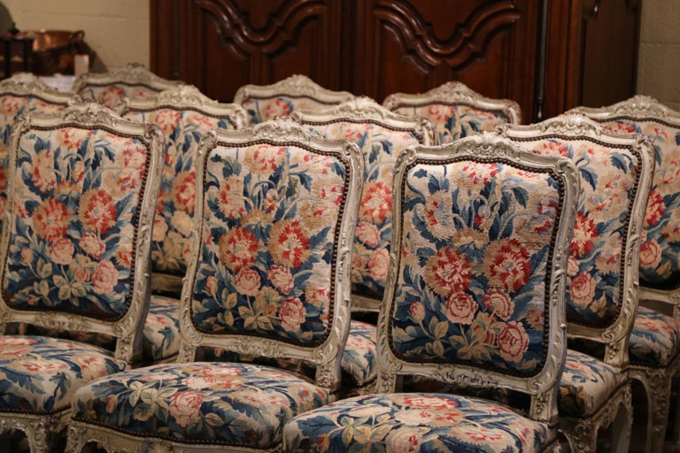 19th Century Carved Painted Dining Room Chairs with Aubusson Tapestry -Set of 12 For Sale 5