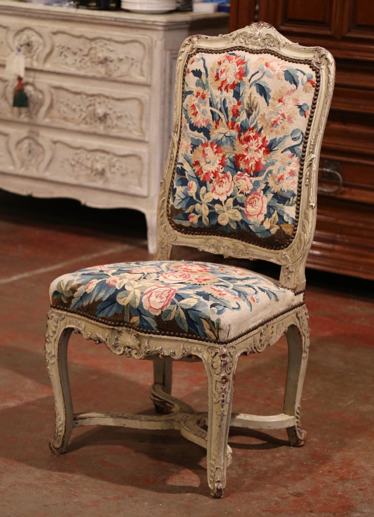 19th Century Carved Painted Dining Room Chairs with Aubusson Tapestry -Set of 12 For Sale 6