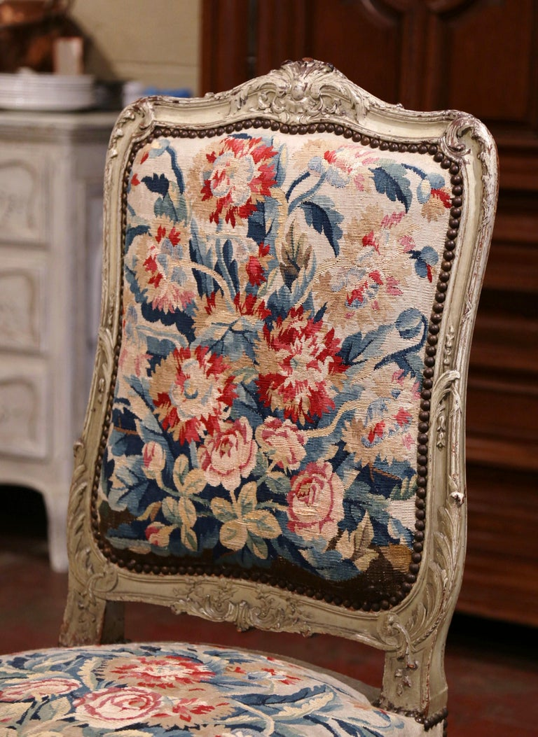19th Century Carved Painted Dining Room Chairs with Aubusson Tapestry -Set of 12 For Sale 7