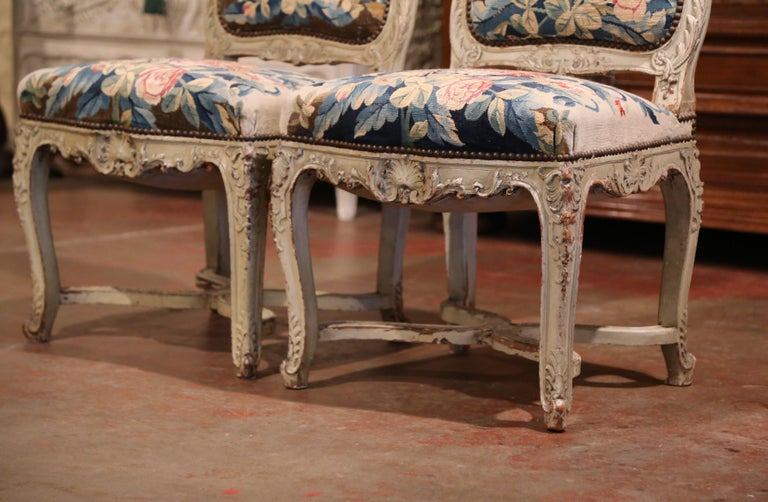 19th Century Carved Painted Dining Room Chairs with Aubusson Tapestry -Set of 12 For Sale 8