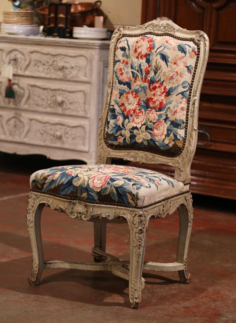 19th Century Carved Painted Dining Room Chairs with Aubusson Tapestry -Set of 12 For Sale 9