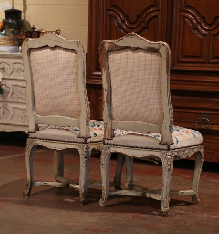 19th Century Carved Painted Dining Room Chairs with Aubusson Tapestry -Set of 12 For Sale 10
