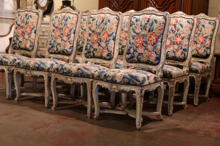 Louis XV 19th Century Carved Painted Dining Room Chairs with Aubusson Tapestry -Set of 12 For Sale