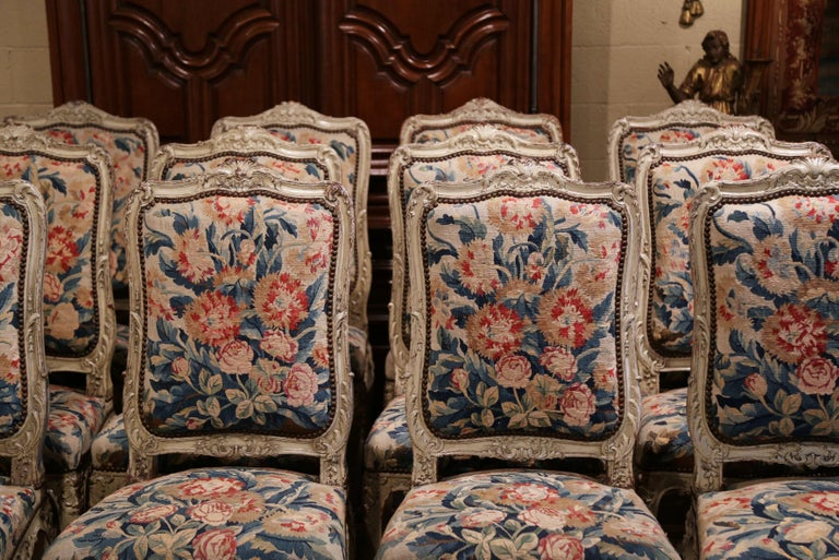 French 19th Century Carved Painted Dining Room Chairs with Aubusson Tapestry -Set of 12 For Sale