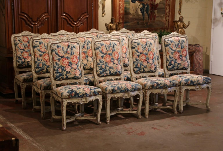 Hand-Painted 19th Century Carved Painted Dining Room Chairs with Aubusson Tapestry -Set of 12 For Sale