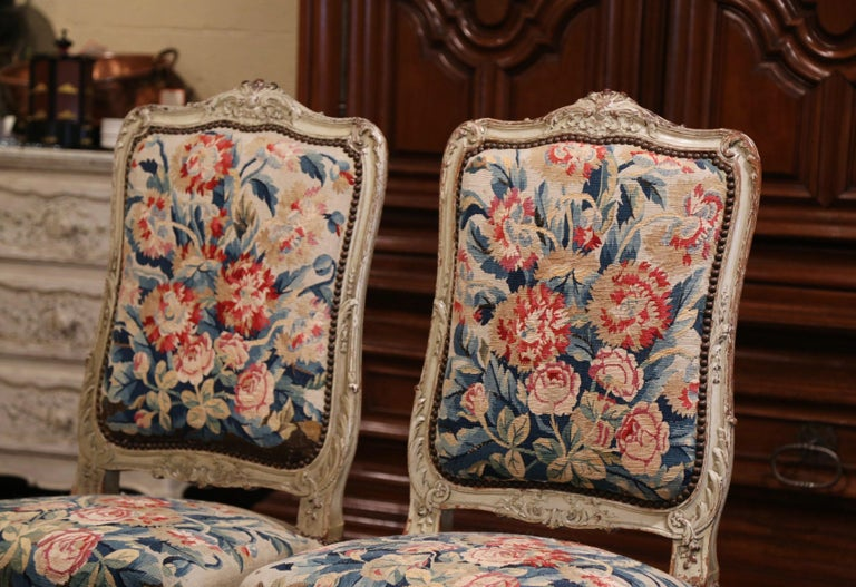 19th Century Carved Painted Dining Room Chairs with Aubusson Tapestry -Set of 12 For Sale 1