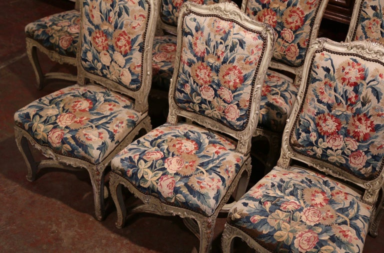 19th Century Carved Painted Dining Room Chairs with Aubusson Tapestry -Set of 12 For Sale 2
