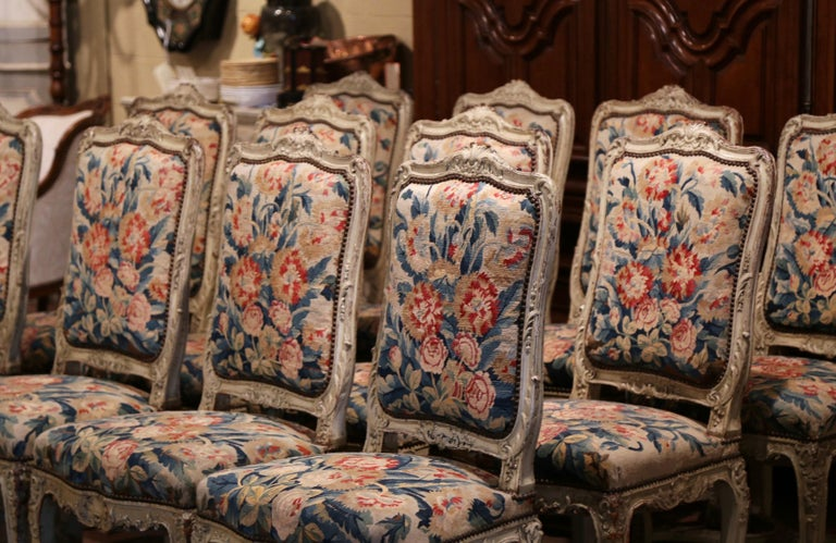 19th Century Carved Painted Dining Room Chairs with Aubusson Tapestry -Set of 12 For Sale 3