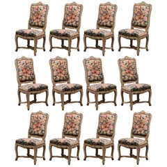 19th Century Carved Painted Dining Room Chairs with Aubusson Tapestry Set of 12