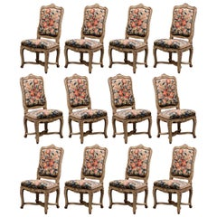 19th Century Carved Painted Dining Room Chairs with Aubusson Tapestry -Set of 12