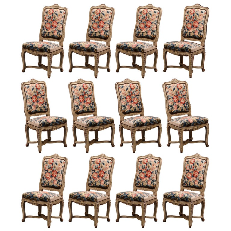 19th Century Carved Painted Dining Room Chairs with Aubusson Tapestry -Set of 12 For Sale