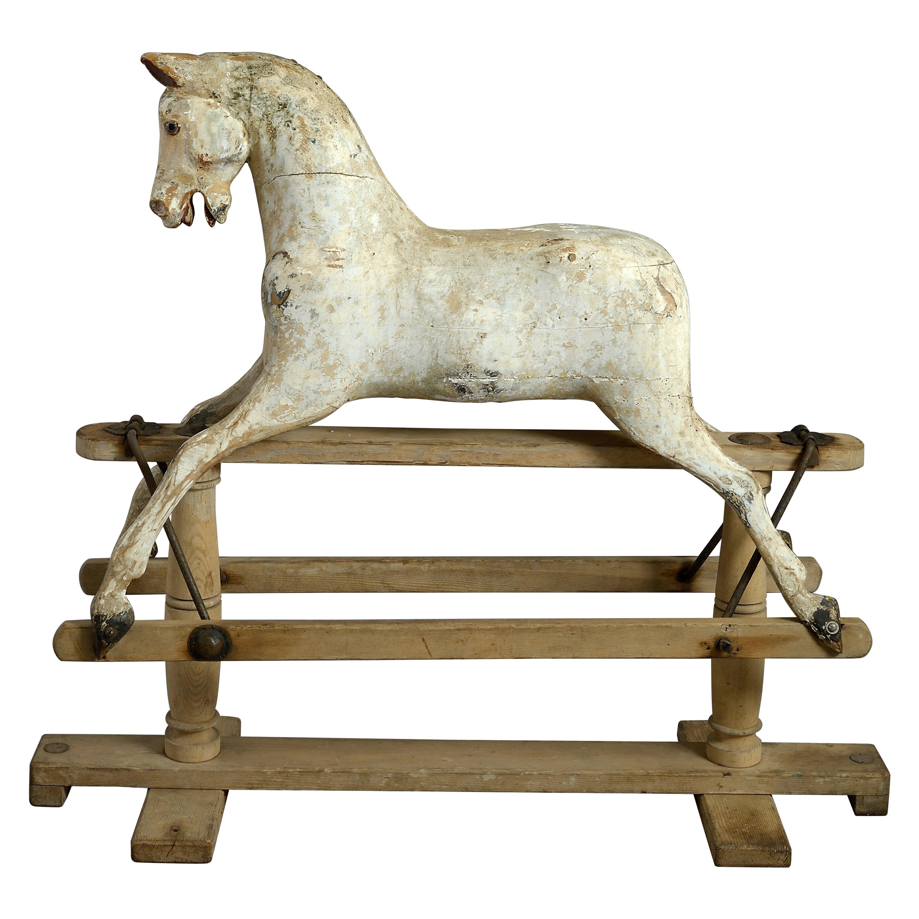 19th Century Carved Painted Rocking Horse