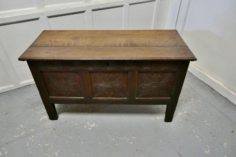 19th century carved paneled oak coffer    This is a lovely old piece, with a good patina, the chest has three moulded panels on the front and inside there is a has a candle box The coffer is in good condition for its age and is a very attractive