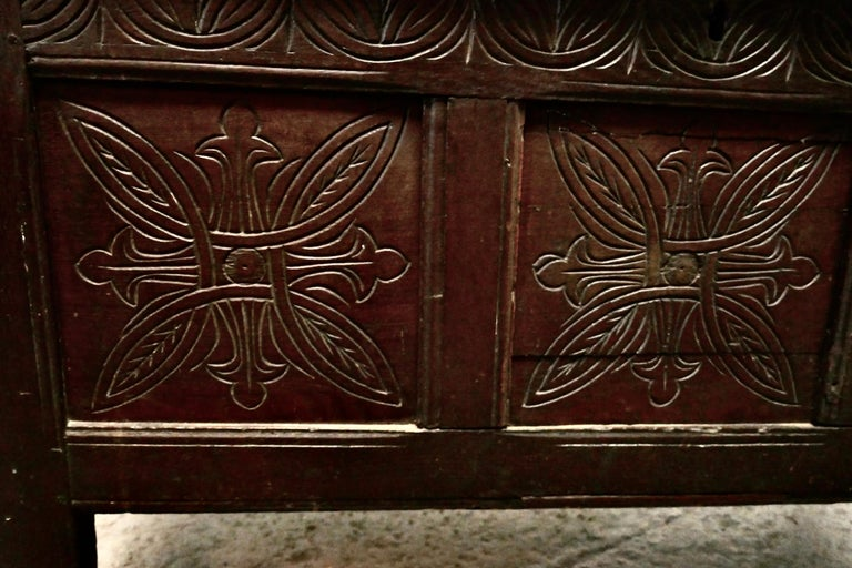 19th Century Carved Paneled Oak Coffer For Sale 1