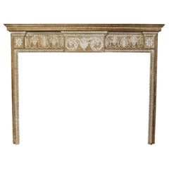 19th Century Carved Pine and Lime Wood Fire Surround