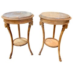 19th Century Carved Pine Neoclassical Gueridon Tables