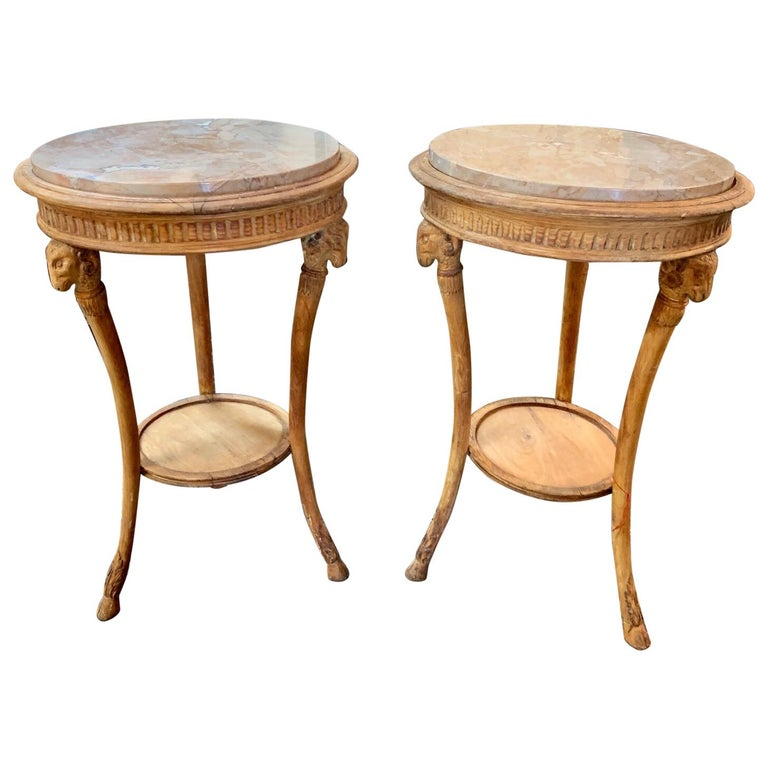 19th Century Carved Pine Neoclassical Gueridon Tables For Sale