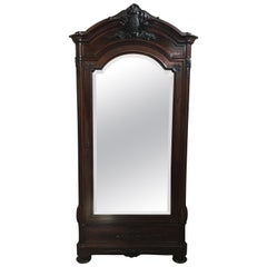 19th Century Carved Rosewood Armoire with Large Beveled Mirror