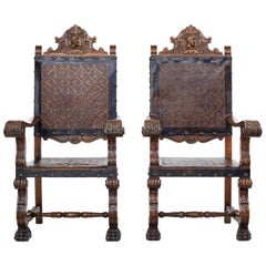 19th Century Carved Spanish Leather Embossed Walnut Throne Chairs