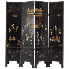 19th Century Carved Stone and Lacquered Screen