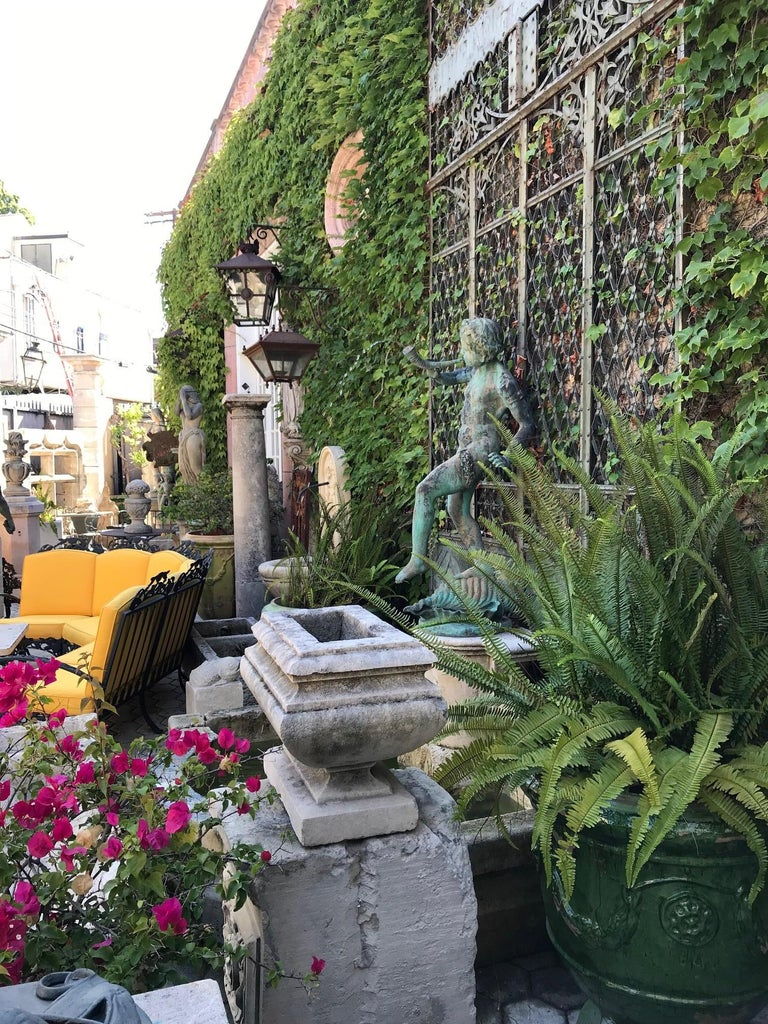 European 19th Century Carved Stone Basin Garden Fountain with Bronze Sculpture Statue LA For Sale