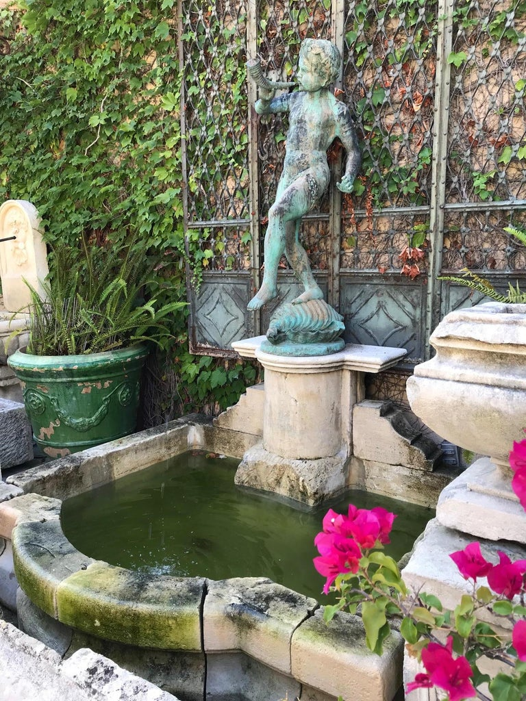 19th Century Carved Stone Basin Garden Fountain with Bronze Sculpture Statue LA For Sale 1