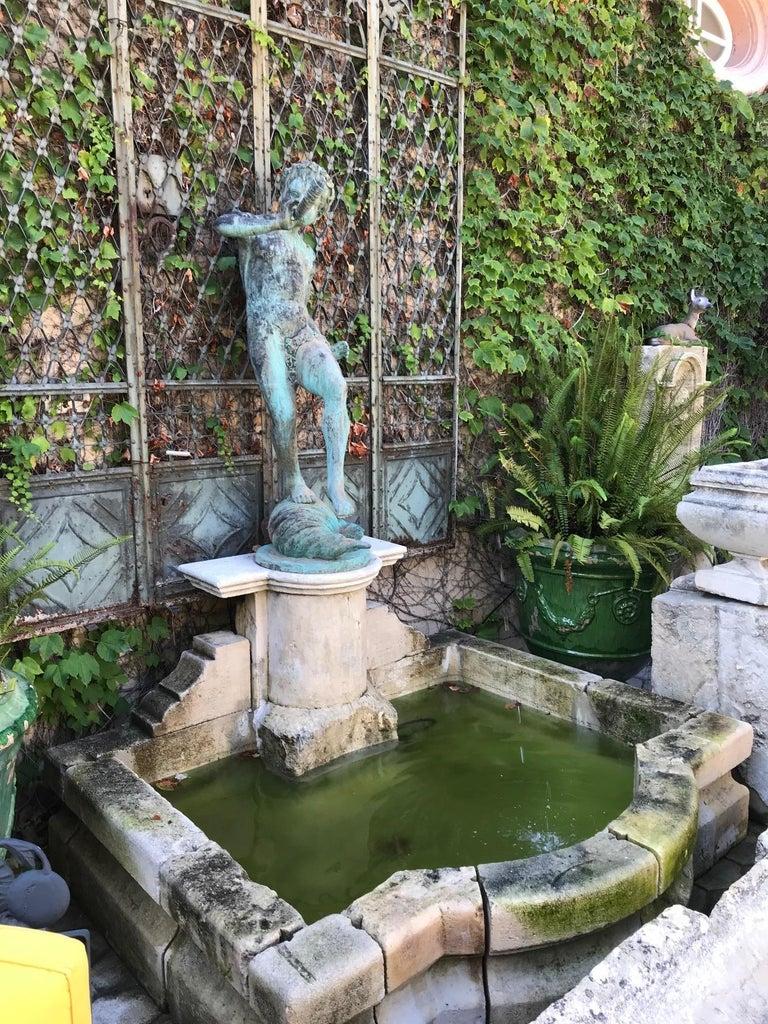 19th Century Carved Stone Basin Garden Fountain with Bronze Sculpture Statue LA For Sale 2