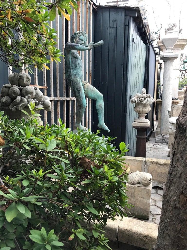 19th Century Carved Stone Basin Garden Fountain with Bronze Sculpture Statue LA For Sale 3