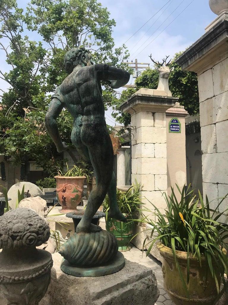 19th Century Carved Stone Basin Garden Fountain with Bronze Sculpture Statue LA For Sale 5