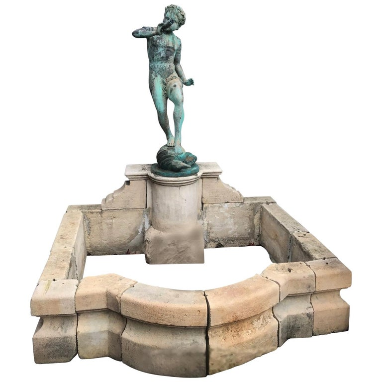 19th Century Carved Stone Basin Garden Fountain with Bronze Sculpture Statue LA For Sale