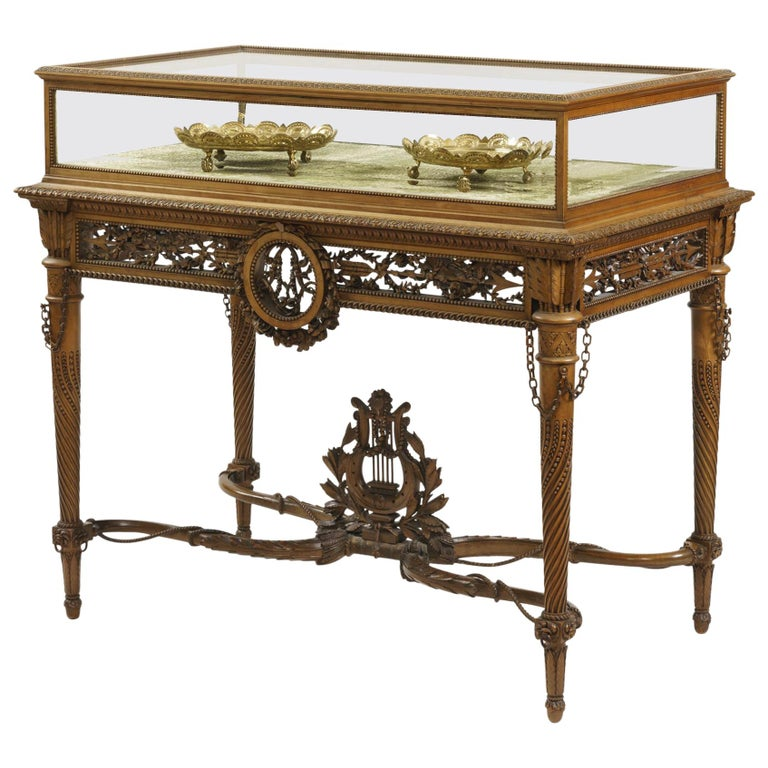 19th Century Carved Table Vitrine in the Louis XVI Manner by Beurdeley For Sale