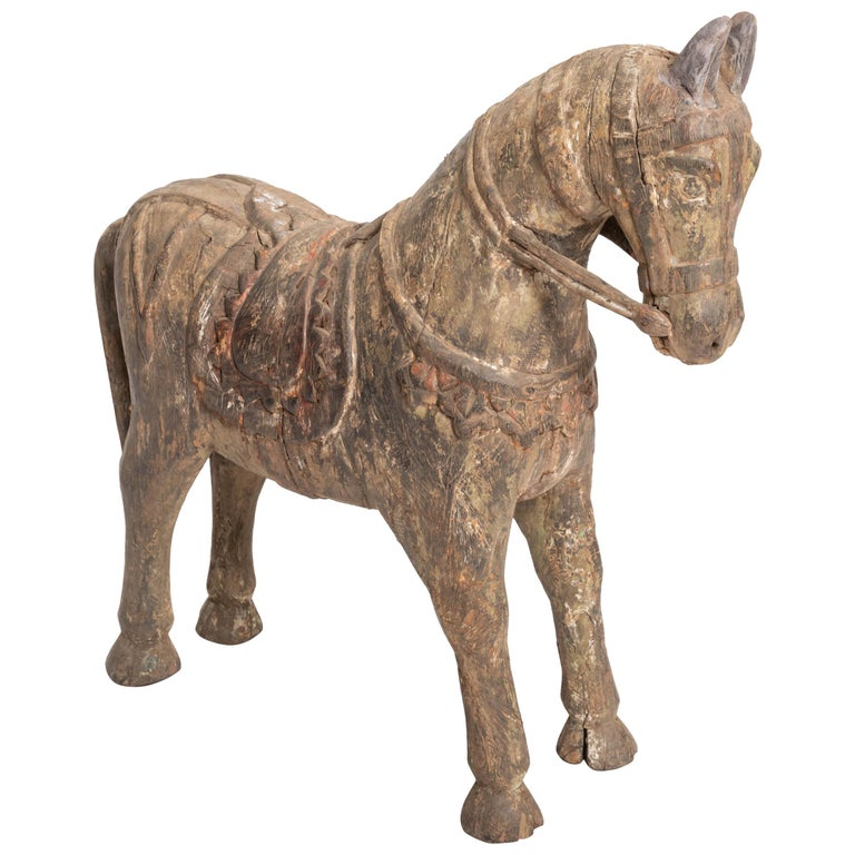 19th Century Carved Teak Horse For Sale