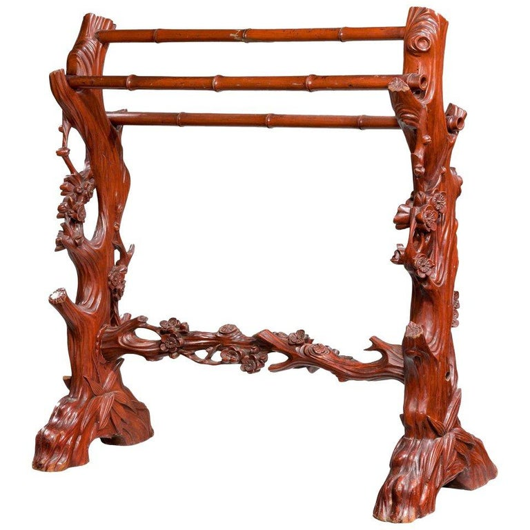 19th Century Carved Towel Rail For Sale