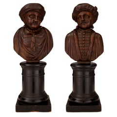 19th Century Carved Walnut and Ebonized Fruitwood Busts of Turkish Nobles