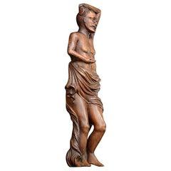 19th Century Carved Walnut Effeminacy Male Figure