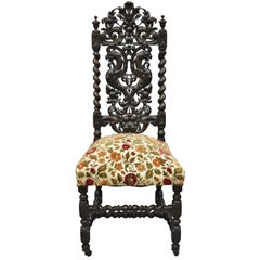 19th Century Carved Walnut Figural Renaissance Revival Throne Side Chair