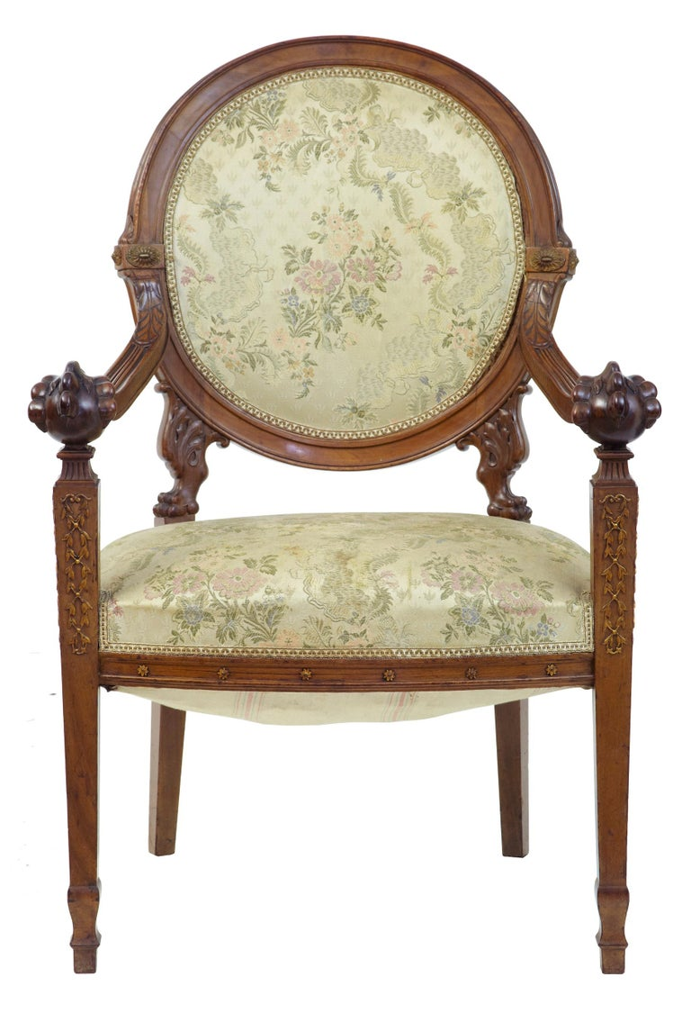Late Victorian 19th Century Carved Walnut French Armchair For Sale