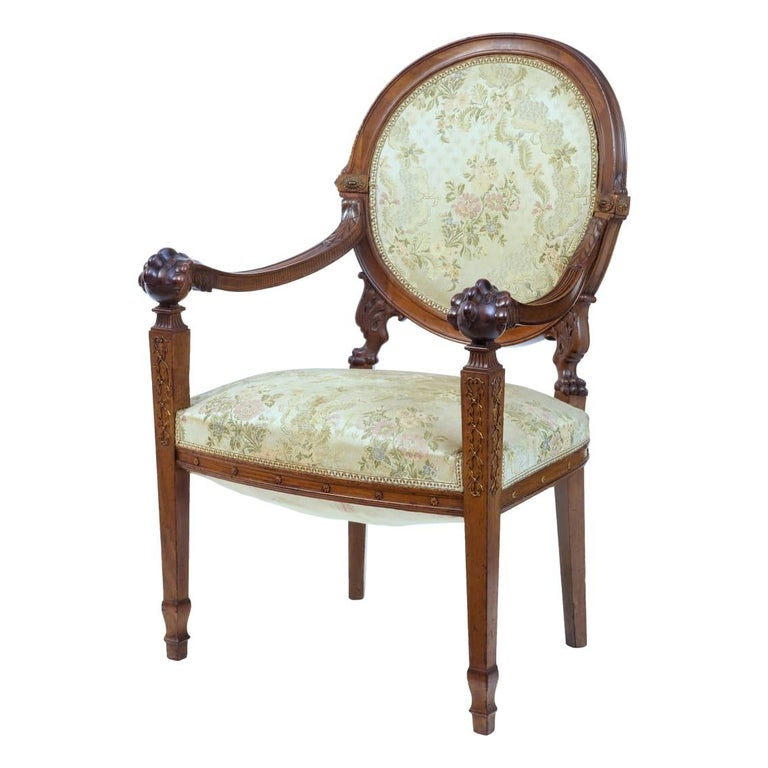 19th Century Carved Walnut French Armchair For Sale