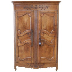 19th Century Carved Walnut French Provincial Armoire Cabinet