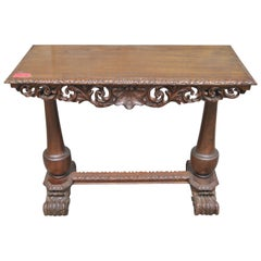 19th Century Carved Walnut Hall Table