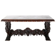 19th Century Carved Walnut Italian Library or Centre Table Renaissance Revival