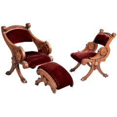 19th Century Carved Walnut Renaissance Revival Chairs and Foot Stool
