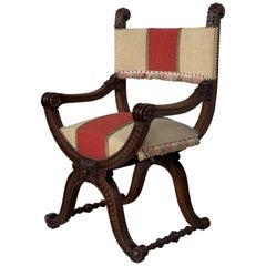 19th Century Carved Walnut Upholstered Savonarola Bench or Settee
