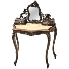 19th Century Carved Walnut Vanity Table or Dressing Table