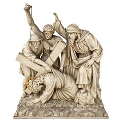 19th Century Carved Wood 3rd Station of the Cross, 'Jesus Falls', Switzerland