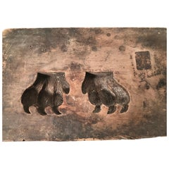 19th Century Carved Wood Bear Claw Mold
