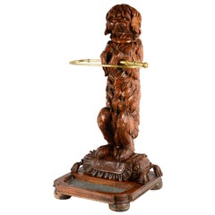 19th Century Carved Wood Black Forest Dog Stick Stand